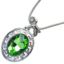 4.76 Ct Oval Cut Emerald 18K White Gold Plated 12 Horoscope Aries Pendant