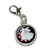 Bulldog Dog - Antiqued Bracelet Pendant Zipper Pull Charm with Lobster Clasp