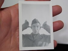 VINT SNAPSHOT PHOTO, WACKY ARMY MAN STICKS TONGUE OUT AT THE CAMERA