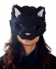 ADULT BLACK FURRY KITTY CAT FACE PVC MASK ANIMAL COSTUME MR039053