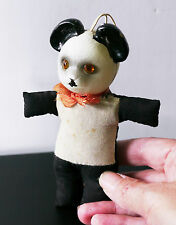 Vintage Japan panda bear doll toy. celluloid head, sawdust-stuffed fabric body