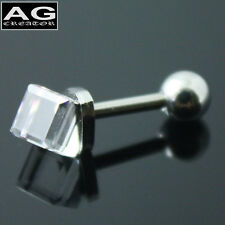 Clear cubic barbell stainless steel piercing earring stud 18g