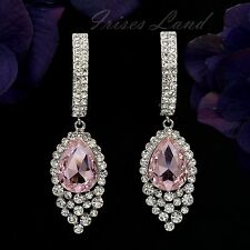 Rhodium Plated Pink Crystal Rhinestone Chandelier Drop Dangle Earrings 8753 Prom