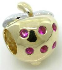 Strawberry Ruby 9K 9ct 375 Solid Gold Bead Charm FIT EURO BRACELET