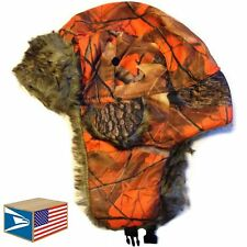 BOMBER FUR HAT Orange Real Tree Camouflage TRAPPER CAP HUNTING WINTER NEW!