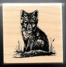 FOX PUP NATURE Wildlife Forest Animal realistic small Craft NEW RUBBER STAMP