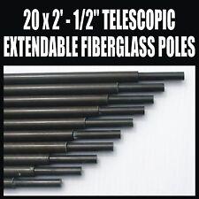 """X20 2' X 1/2"""" Postes De Fibra De Vidrio Extensible Telescópico Amateur Ham Radio Antena"""