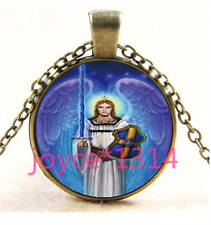 Archangel Michael Cabochon bronze Glass Chain Pendant Necklace TS-4102