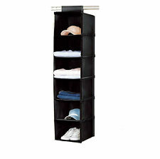 6 Section BLACK Hanging Garment Storage Organiser Rack stand shirts jumpers etc