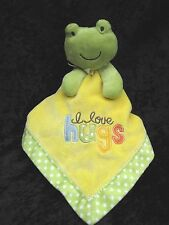 Carters Green Yellow Frog I Love Hugs Velour Satin Rattle Lovey Security Blanket