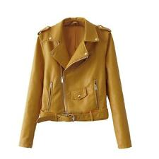 Women Sexy Winter Slim Biker Motorcycle PU Leather Jacket Zipper Punk Coat 2016