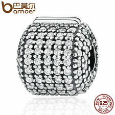 Bamoer European 925 Sterling Silver Clip Charm Pave Barrel Clear CZ fit Bracelet