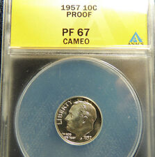 1957 Roosevelt 10c ANACS Proof 67 Cameo~~Great cameo, mirrors & wholesale priced