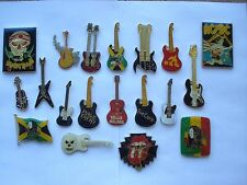 SALE VINTAGE GUITAR ROCK MUSIC MARLEY STONES MOTORHEAD AC-DC PIN BADGE JOB LOT