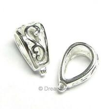 1x Sterling Silver Filigree Bail Slide Pendant Connector 11mm SB360W