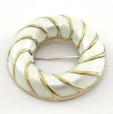 VTG David Andersen Sterling Silver White Enamel Modernist Circle Pin Brooch