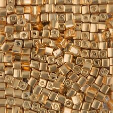 Miyuki Metallic Gold 4mm Square (Cube) Glass Seed Beads 20g Tube (B86/14)