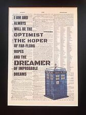 Dr Who Tardis Optimist Dreamer Gift Idea A4 Size Antique Dictionary Page Art