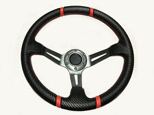 13.5 Steering Wheel Polaris RZR Can-Am Maverick Deep Silver Carbon Red Stripes