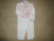 Carter's Baby Girls 9 Months 4 Piece Set~Layette, Cap, Socks & Bib~NEW WITH TAGS