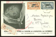 France: Sc. C1, C2 on registered 1927 Air Salon special card
