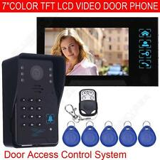 "7"" LCD Wired Video Door Bell Phone Audio Intercom Camera Security Entry System"