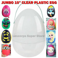 "Giant Jumbo 10"" Plastic Egg YOUTUBE SURPRISE Playdoh Clear with Removable Handle"