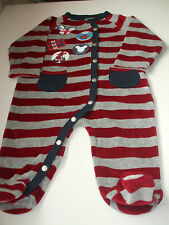 DISNEY BABY RED / GREY STRIPED ROMPER FOR 6 MONTH BABY - EXCELLENT CONDITION