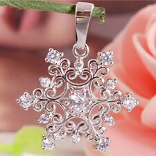 New Fashion 925 Sterling Silver Cubic Zirconia Nice Snowflake Necklace Pendant
