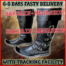 Medieval Leather Boots Re-enactment Shoes Sca Larp Riding Costume Armour Boot