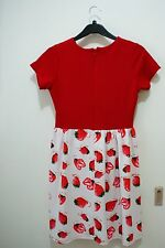 Bread n' Butter V-neck Red dress with strawberry prints (Free Size)