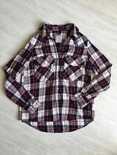WOMEN'S ZARA CHECKED SHIRT DENIM COLLECTION SIZE M RED CREAM UK 10