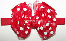 Baby Bow Headband Red Polka Dots Organza Satin Minnie Mouse 1st Firsts Birthday