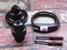 Vintage Pendant Kit Original Restored Bakelite Ceiling Rose & Lamp Holder Set 3
