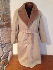 Vintage Men's Brooks Brothers STONE Fur Lined Trench Coat Overcoat sz 40 USA
