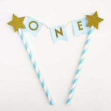 Blue Gold One Year Old Happy Birthday Cake Topper Flag Banner First Birthday