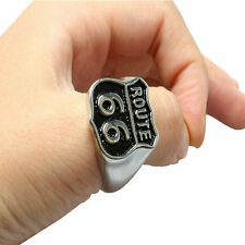 18k Gold Plated ROUTE 66 Black Silver Fashion Signet Men Ring Size 9 Gift