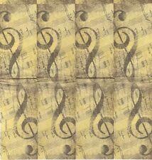 3 Mouchoirs en papier Musique Clé de Sol Paper Hankies Music Serviette