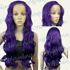 28 inch Hi_Temp Series Lace Front  Dark Purple Curly  Long Cosplay DNA Wigs S737