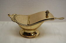 SOLID BRASS INCENSE BOAT AND SPOON (CHURCH CO.)