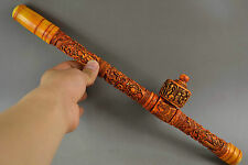 Old 0X B0ne Carving Dragon & Fairchild Play Game Big Smoking Tool Wide 14.7Inch