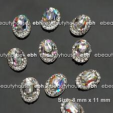 10 Pcs Alloy Jewelry 3D DIY AB Rhinestone Nail Art Glitters Slices #EJ-212