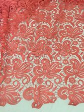 """CORAL FLOWER GUIPURE FRENCH VENICE BRIDAL LACE FABRIC 52"""" 1 YARD"""