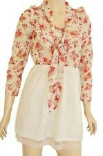 RJ STORY SZ 8-10 WOMENS Cream Vintage Floral Print 3/4 Sleeve Short Tea Dress