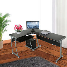 L-shape Computer PC Desk Home Study Office Furniture Corner Table with Foot Pads