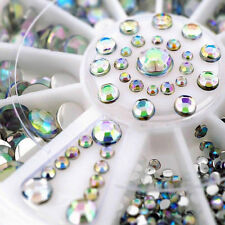300PCS DIY Nail Art Tips Charm Gems Crystal Glitter Rhinestones 3D Decor Wheel M