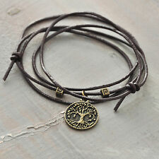 Necklace/Bracelet Tree of life Bronze tone Leather Cord Adjustable