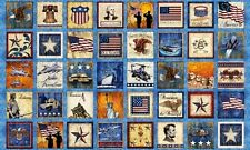 Home of the Brave Patriotic Military Patch Blue 24x44 Fabric Panel