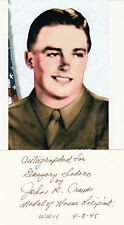 John Crews WWII Medal of Honor, Battle of Buchhof, SIGNED CARD MOH AUTOGRAPHED