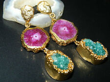 Gold Edged Druzy Agate Slice Earring, Natural Druzy Slice, Electroplated Jewelry